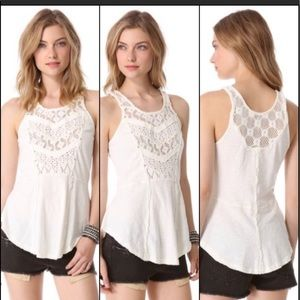 FREE PEOPLE CREAM CROCHETED TANK TOP SIZE XS